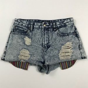 Forever 21 Acid Wash Distressed Jean Shorts 28